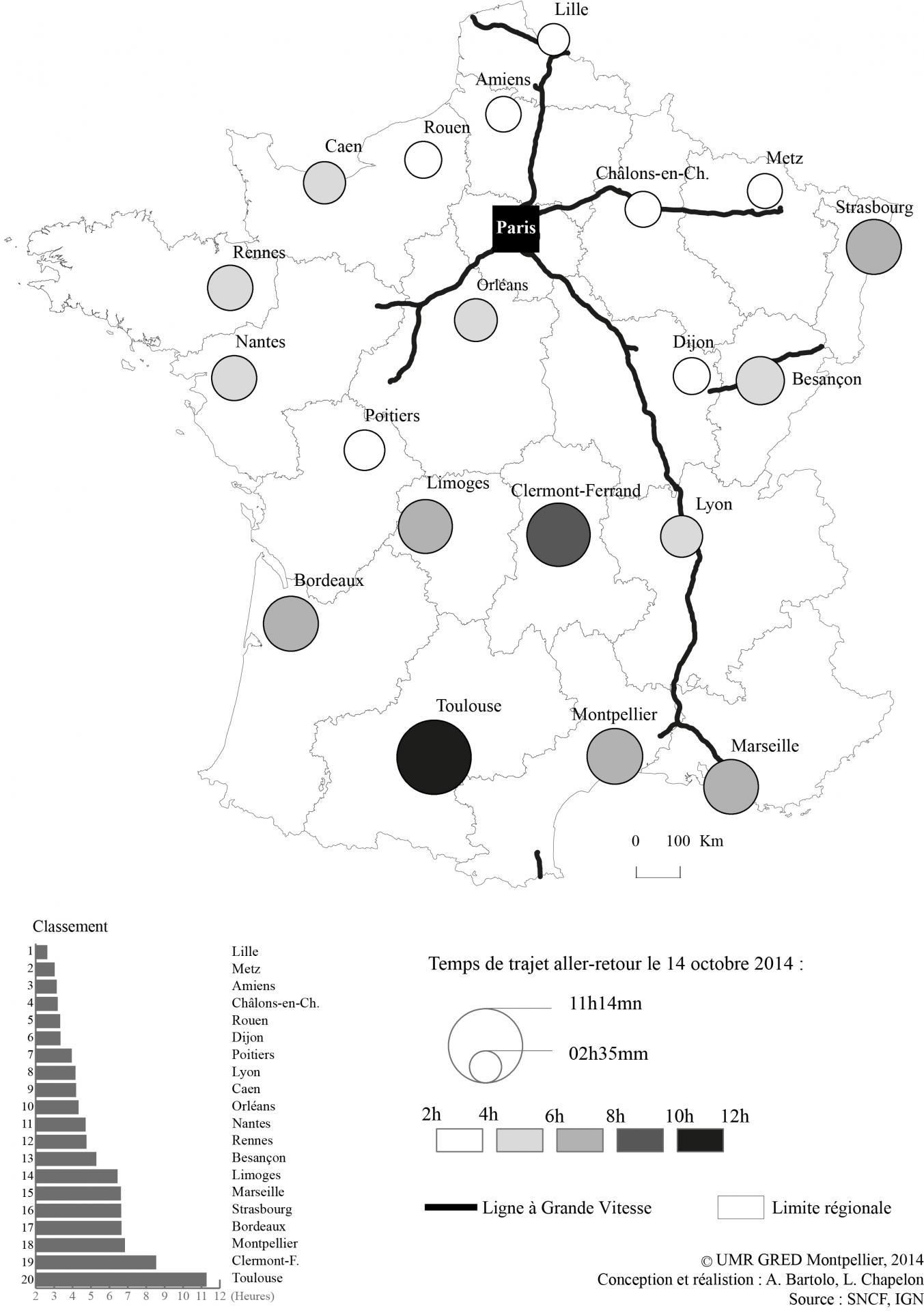Temps de trajets aller-retour entre Paris et les préfectures de région françaises